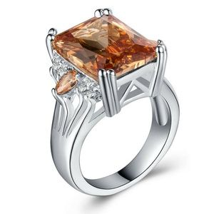 925 Silver Ring Emerald Cut Citrine Ring New